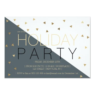 Christmas Themed Modern grey gold color block corporate Christmas Card