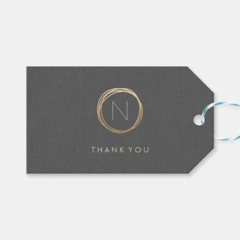 Modern Grey Linen Elegant Gold Monogram Thank You Gift Tags