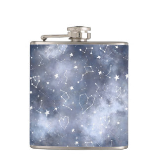 Modern grey nebula watercolor constellation flask