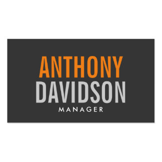 Modern Grey Orange Huge Bold Text Business Card