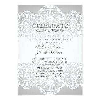 modern Grey pearl white lace vintage wedding Invitation