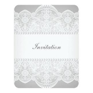 modern Grey pearl white lace vintage wedding Invitations