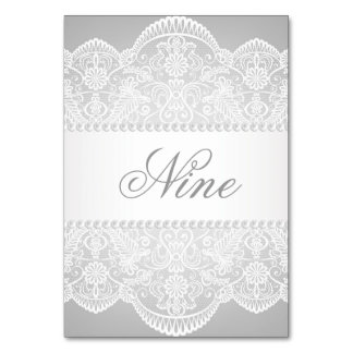 modern Grey pearl white lace vintage wedding Table Cards
