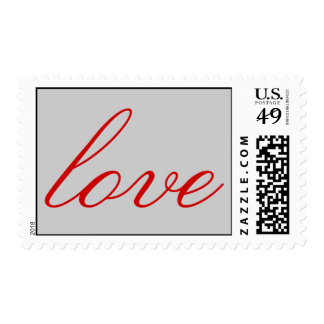 Modern Grey Red Calligraphic Love Wedding Postage