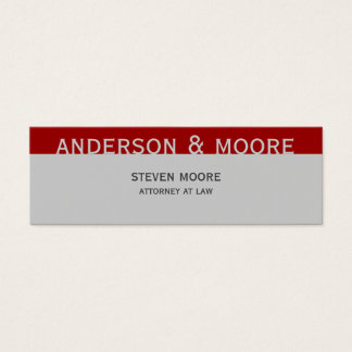 Modern Grey Red Law Firm Attorney Business Card