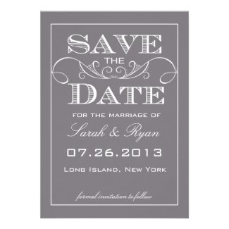 Modern Grey Save the Date Announcement