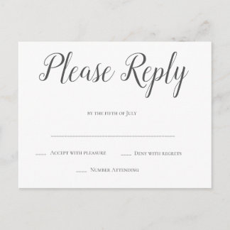Modern grey script wedding rsvp postcards