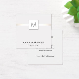 Modern Grey Stripe Professional Monogram Square Business Card