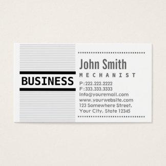 Modern Grey Stripes Mechanic Business Card