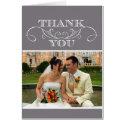 Modern Grey Swirl Wedding Thank You Cards