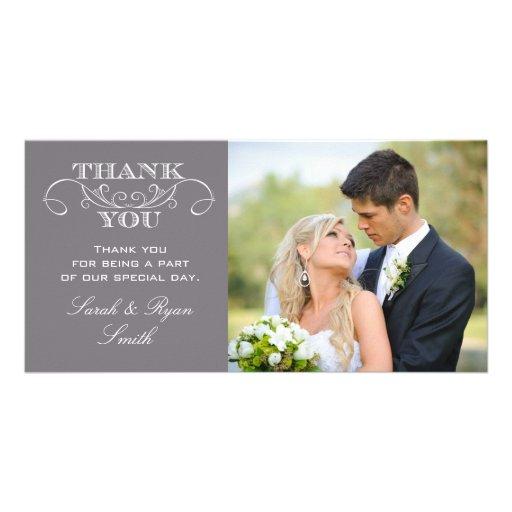 Modern Grey Wedding Photo Thank You Cards Photo Card Template