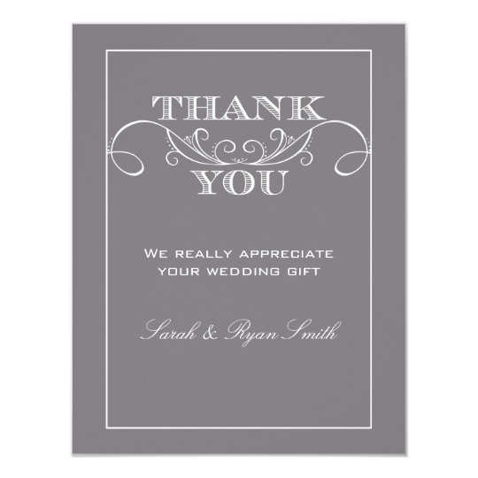 Modern Grey Wedding Thank You Cards