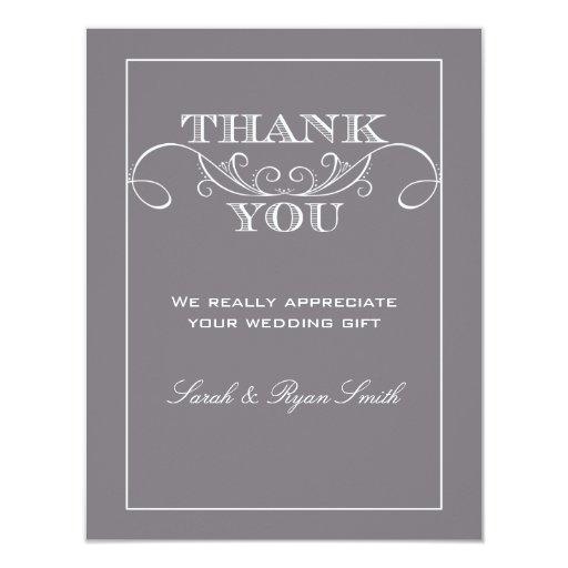 Modern Grey Wedding Thank You Cards Custom Invitation