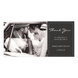 Modern Grey Wedding Thank You Photocard Photo Card