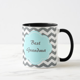 modern  grey, white chevron best grandma mug
