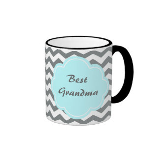 modern  grey, white chevron best grandma ringer coffee mug