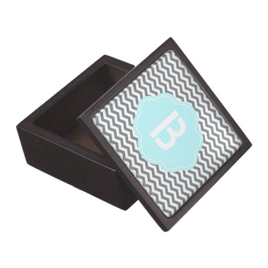 modern  grey, white chevron monogram gift box