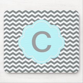 modern  grey, white chevron monogram mouse pad