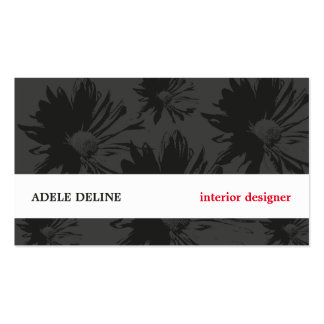 Modern Grey White Floral Interior Designer Double-Sided Standard Business Cards (Pack Of 100)