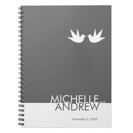 Modern Grey White Wedding Guest Book Organizer Journal