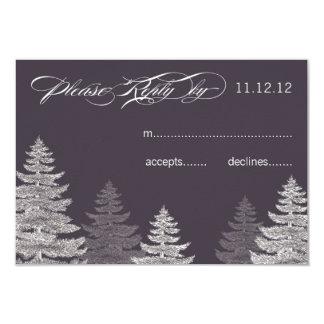 Modern Grey Winter Wedding RSVP Cards Trees