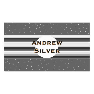 Modern Grey With Black Stripes, White Circle Dots Business Card