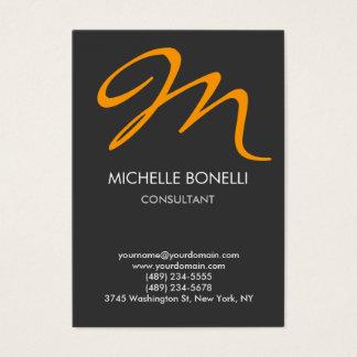 Modern grey yellow script monogram business card