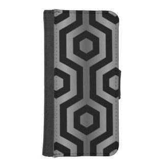 Modern Greyscale Hexagonal Geometric Pattern iPhone 5 Wallet Cases