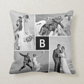 Modern Grid Black Monogram Photo Collage Pillow