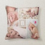 Modern Grid Monogram Photo Collage Custom Cushion Pillow