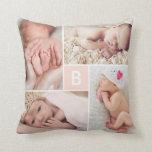 Modern Grid Monogram Photo Collage Custom Cushion Throw Pillow