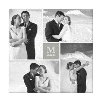 Modern Grid Monogram Wedding Photo Collage Canvas