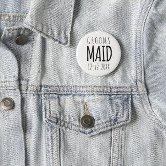 Modern Groomsmaid Wedding Pin Button