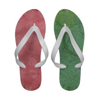 Modern Grunge Greeand Pink Custom Flip Flops
