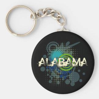 Modern Grunge Halftone Alabama Keychain Dark