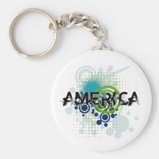 Modern Grunge Halftone America Keychain