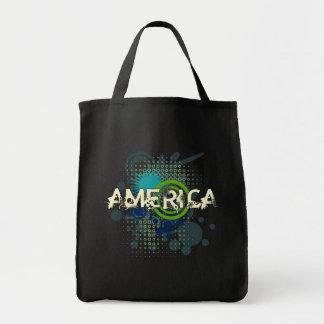 Modern Grunge Halftone America Tote Bag