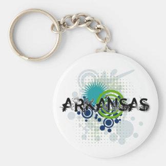 Modern Grunge Halftone Arkansas Keychain