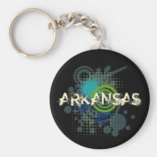 Modern Grunge Halftone Arkansas Keychain Dark