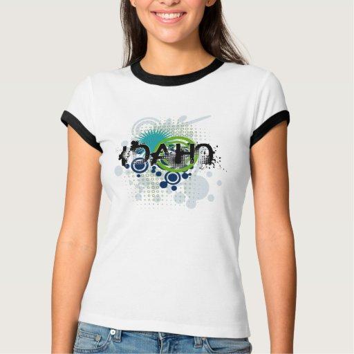 Modern Grunge Halftone Idaho T-Shirt Womens