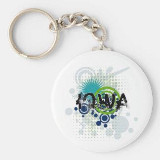 Modern Grunge Halftone Iowa Keychain