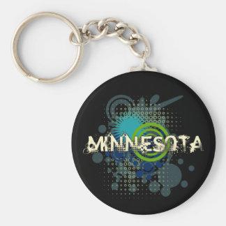 Modern Grunge Halftone Minnesota Keychain Dark