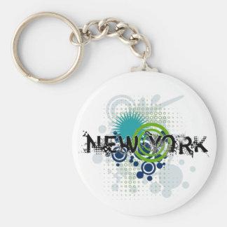 Modern Grunge Halftone New York Keychain