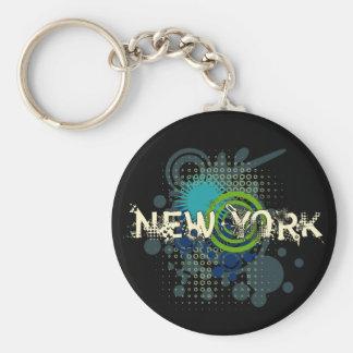Modern Grunge Halftone New York Keychain Dark