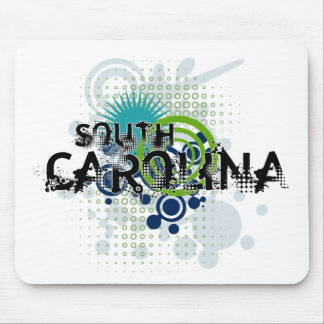 Modern Grunge Halftone South Carolina Mousepad