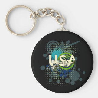 Modern Grunge Halftone USA Keychain