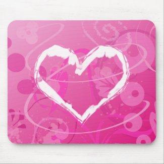 Modern Grunge Heart Valentine mousepad