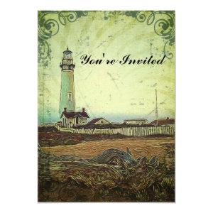 modern grunge oil painting vintage light house 5x7 paper invitation card