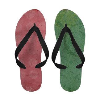 Modern Grunge Pink and Green Custom Flip Flops