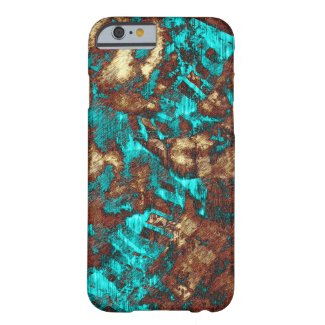 Modern Grunge Texture Pattern Turquoise and Brown Case-Mate iPhone Case